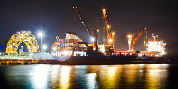 Image of the Port of Pensacola at night